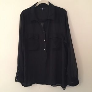 GAP sheer black collared blouse popover style XL